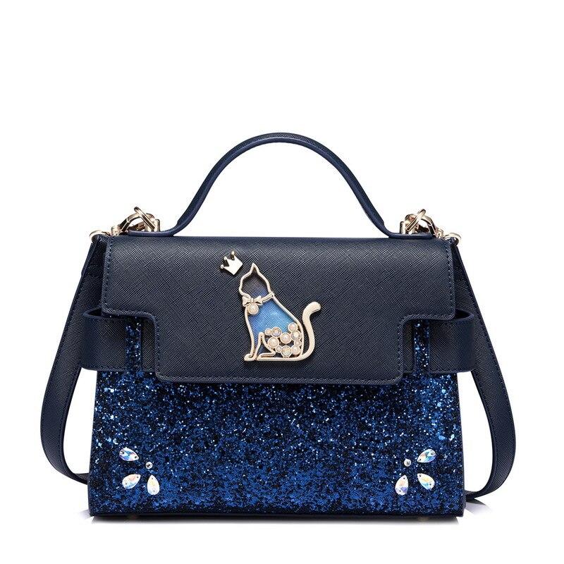 Фотография 2017 new fashion bag all-match satchel handbags sequins heavy blue handbag women metal cat shoulder for girls