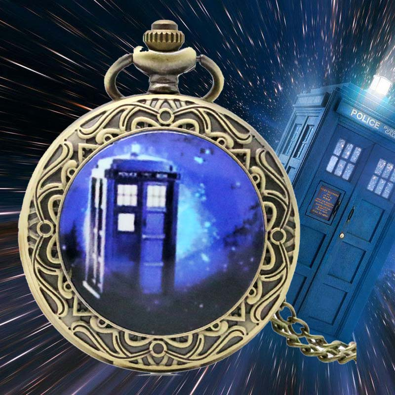 Movies Theme Doctor Who Quartz Pocket Watch Men Round Dial Dr. Who Fans Clock With 80cm Sweater Necklace Chain As Christmas Gift