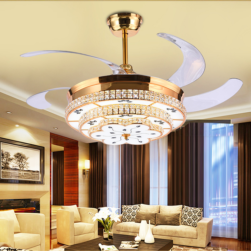 Modern Led Luxury 52 Inch Invisible Retractable Crystal Ceiling Fans With Lights Bedroom Folding