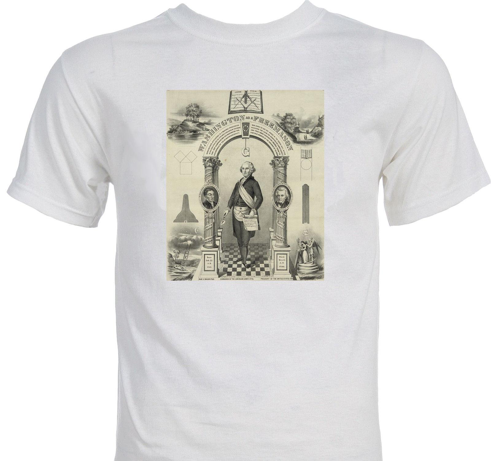 2019 Brand New Men Clothing Fashion T Shirts George Washington As Freemason  Occult Freemasonry Conspiracy Theory Hipster Tee