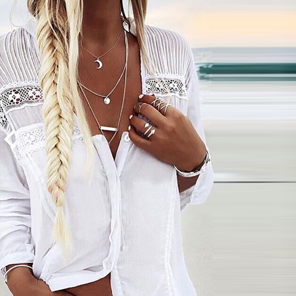 Long Sleeve V-Neck   shirt   Stripe Fashion Womens   Blouse     Shirt     Blouse   Tank Tops korean fashion female Lace stitching V-neck