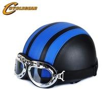Cyclegear harley мотоциклетные шлемы + goggle натуральная кожа покрыта пол-лица мопедов каско cg101