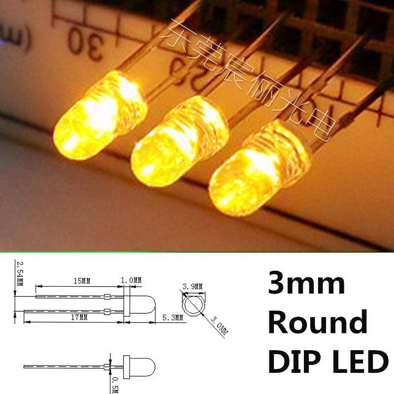 Мерцающая свеча 3 мм светодиодный желтый светильник диод 585-595nm 3,2-3,4 V круглая лампа-свеча 5 мм, красные, зеленые, синие, белые