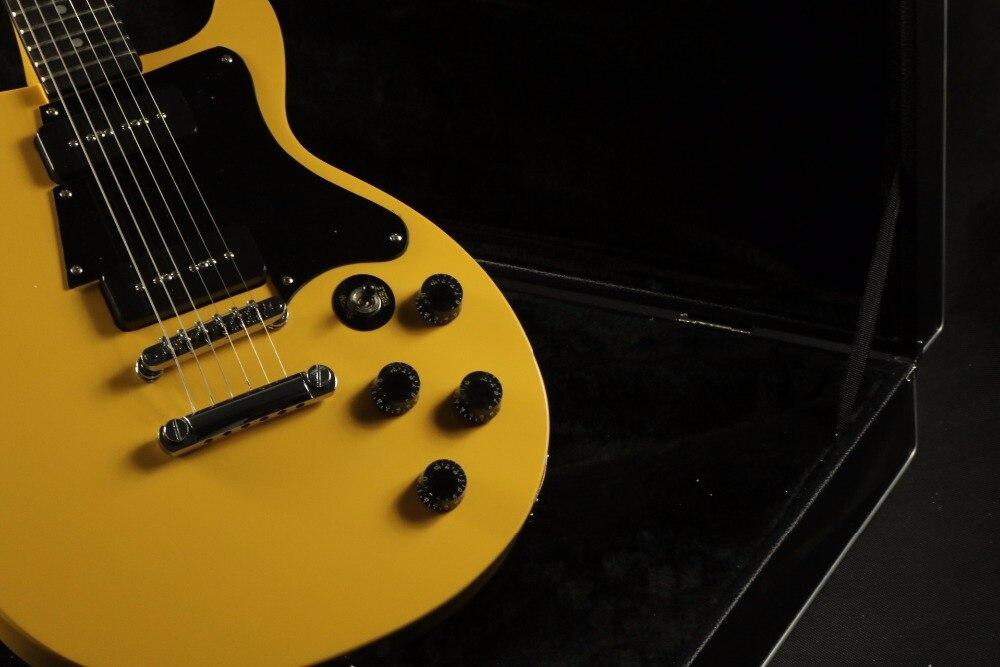 Populaire vente jaune couleur bk p90 micros Junior guitare électrique Guitarra chrome matériel électrique guitare