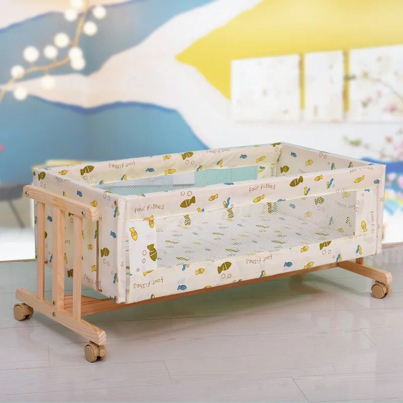 Solid Wood I-shaped Small-sized Logs Cradle Bed Removable With Mosquito Net Simple Baby Crib