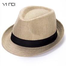 c175b8f33b9e7 YIFEI Summer Hats Multicolor optional Solid Straw Hat for Women Beach  Fedoras Casual Panama Sun Hats