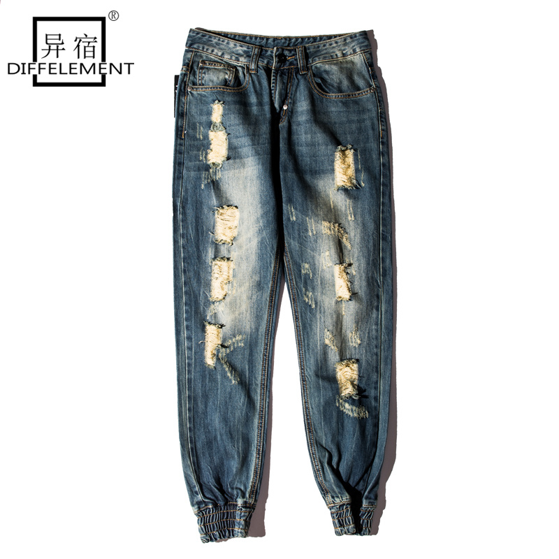DIFFELEMENT High Street Kanye West Retro Stretch Jeans Vintage Hole Jeans HOMME RIPPED BROKEN HOLE PANTS slim fit jeans men