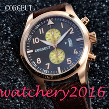 Corgeut 46mm black dial Golden plated Case 2017 Newest Hot Fashion Date window mixed strap quartz Mechancial Mens Wristwatches