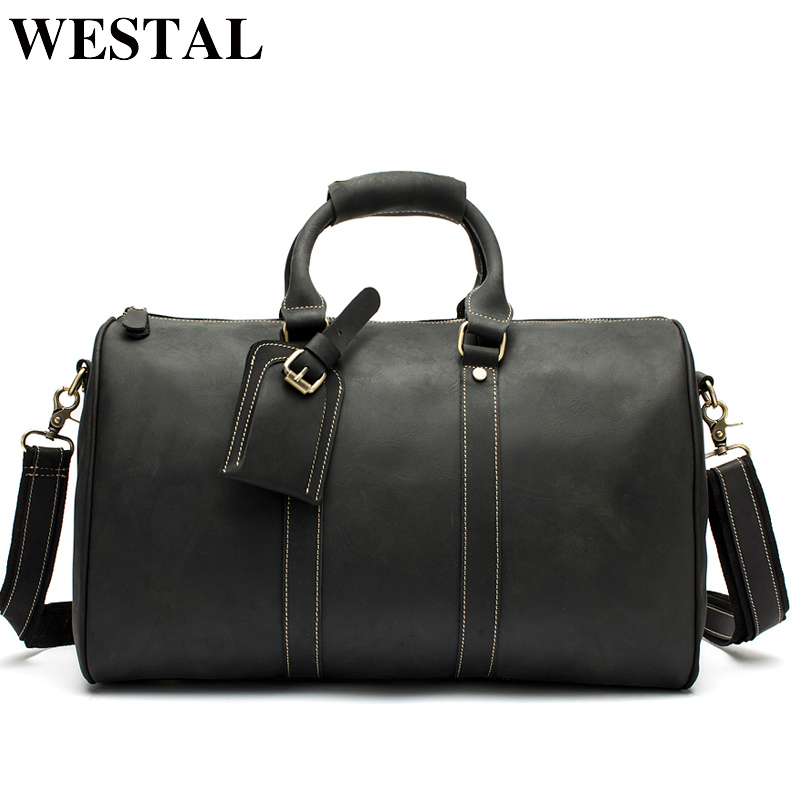 WESTAL Leather Men Travel Bag Genuine Leather Travel Duffle Big Capacity Handbag Suitcase Leather Luggage Bag Men Shoulder Bags qmn women genuine leather platform flats women lace cut glossy leather square toe brogue shoes woman lace up leisure shoes 34 39