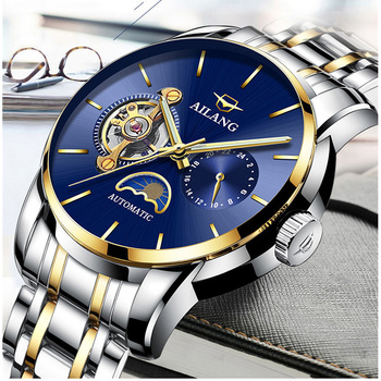 Brand Fashion Men Blue Watches Self-winding Automatic Wrist watch Moon Phase Mechanical Watch Analog Hollow Relogios 316L Steel