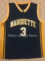 #3 Дуэйн Уэйд Маркетт Университет темно-сине-белые Баскетбол Джерси дешевые мужские Вышивка шить ретро возврат