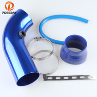 POSSBAY Aluminum Truck Car Air Intake Tube Admission Pipe Inlet Air Pipe 75mm Blue Car Cold Air Intake Pipe Car Styling