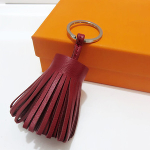 Image 5 - Luxo personalizado artesanal de couro real borla chaveiro metal chaveiro saco feminino charme acessório bolsa chaveiro carro pingente
