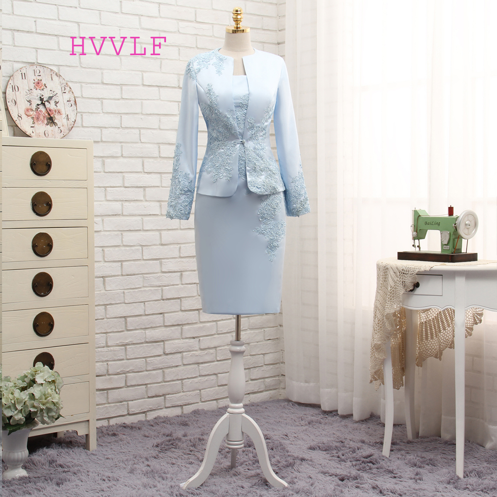 Plus Size Blue 2018 Mother Of The Bride Dresses Sheath With Jacket Appliques Lace Wedding Party Dress Mother Dress For Wedding