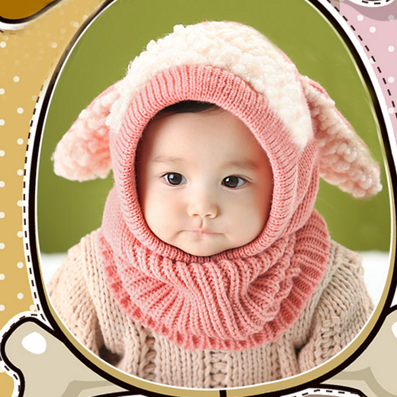 New Winter Kids Girls Boys Warm Woolen Coif Hood Scarf Caps Breathable Touca Inverno Scarves Caps Winter Warm Cap Lamb Boy's Scarves Boy's Accessories
