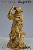 Christmas China Fengshui Brass Wealth Money Coin Liuhai Play Golden Toad Spittor Statue Halloween