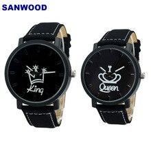 Пара часов queen King Crown Fuax Кожа Кварцевые аналоговые наручные часы хронограф для женщин и мужчин