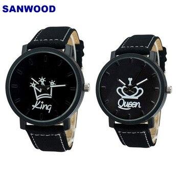 Couple Watch Queen King Crown Fuax Leather Quartz Analog Wrist Watches Chronograph 2018women men