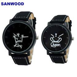 Пара часов queen King Crown Fuax Кожа аналоговые кварцевые наручные часы хронограф 2018 для женщин мужчин
