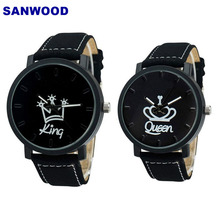 Buy Couple Watch Queen King Crown Fuax Leather Quartz Analog Wrist Watches Chronograph 2018women men directly from merchant!
