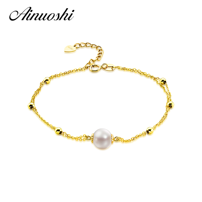 все цены на AINUOSHI Pure AU750 18K Yellow Gold Cultured Freshwater Pearl Chain Bracelet Jewelry High Quality Pearl Pulsera for Lady Wedding онлайн