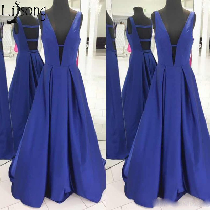 Simple Elegant A Line Prom Dresses Sexy Deep V Neck Satin Evening Dress Formal Party Gowns For Women Abendkleider Custom Made