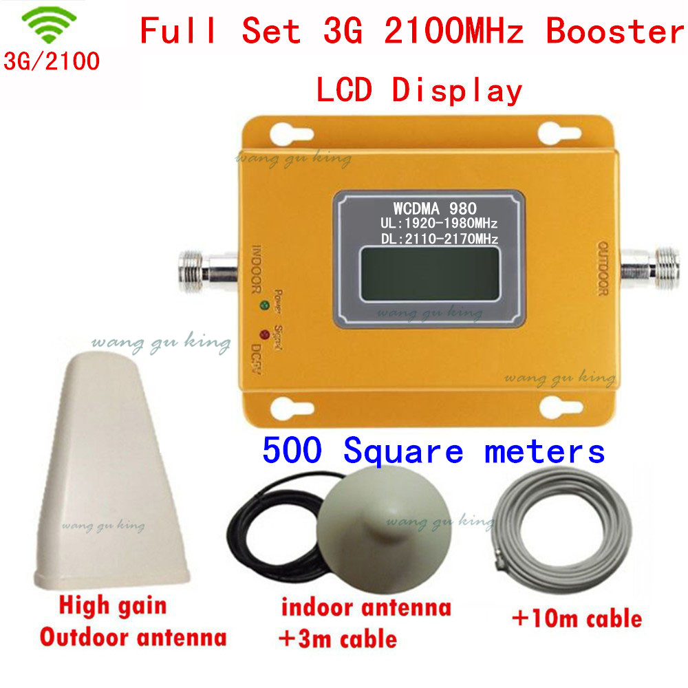 70DB Repeater 3G UMTS W-CDMA 2100Mhz Repetidor 3G Repeater Booster Outdoor + Ceiling Antennas Full Sets 3G Signal Booster Kits