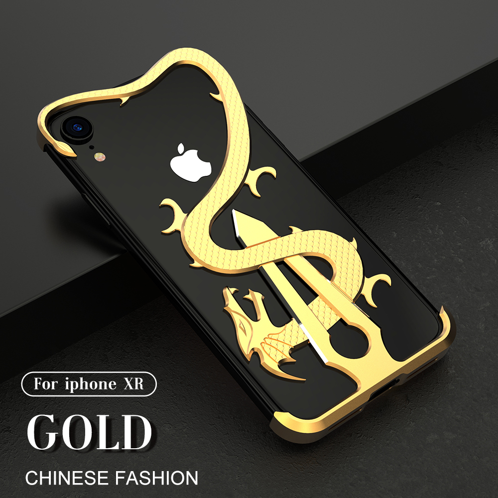 R-Just Luxury Dragon Sword Theme Aluminum Metal Shockproof Protection Case For IPhone XS XR XS Max Back Cover Case Fundas Coque