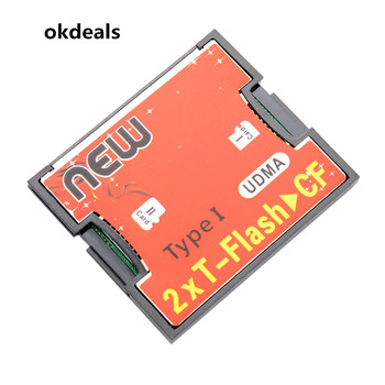 New Useful 2 Ports TF For SDHC to Type I 1 Compact Flash Card CF Reader Adapter Plastic Red Office Compact HOT