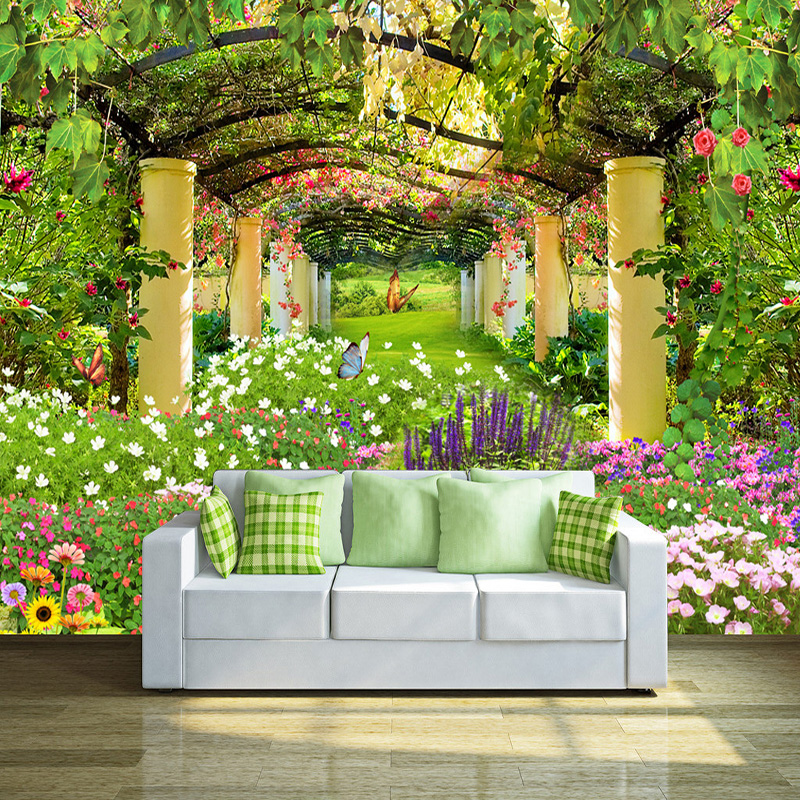 Decor Help: Custom Photo Wall Paper Pastoral Garden Flower 3D Wall