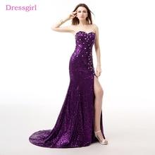 Purple Evening Dresses 2018 Mermaid Sweetheart Sequins Crystals Sparkle Slit Elegant Long Evening Gown Prom Dress Robe De Soiree
