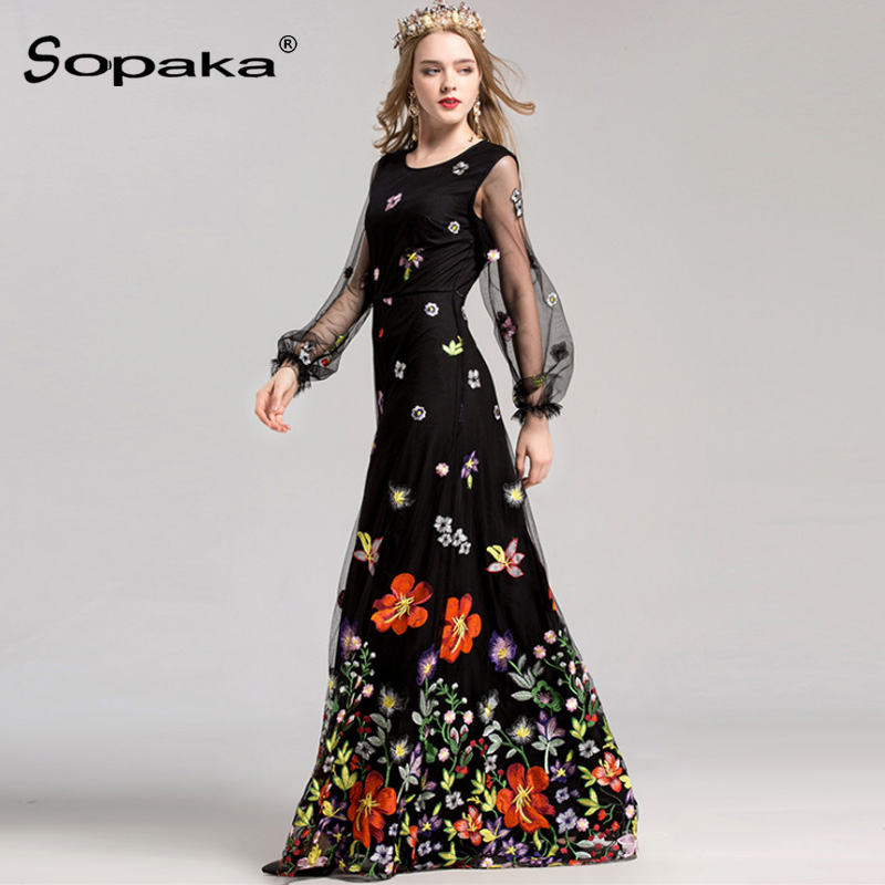 2018 Spring High Quality Mesh Floral Embroidery Long Dress Full Sleeve Vintage Flower Black Runway Designer Maxi Women Desses