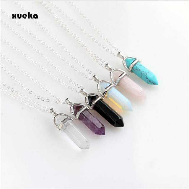 Fashion Hexagonal Column Necklace Natural Crystal Pendants Pink 6 colors Stone N