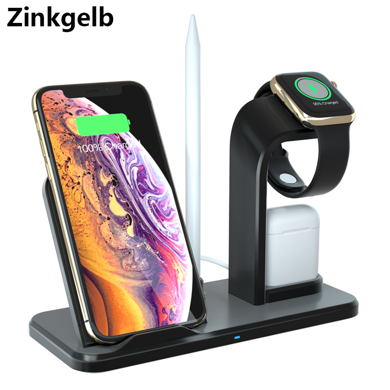 Wireless Charger for iPhone XS Max XR 8 Plus 3 in 1 Desktop 10W Qi Fast Charging Station for AirPods 1 2 Apple Watch 4 3 2 1