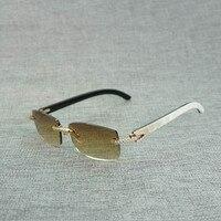 Rhinestone Black White Buffalo Horn Rimless Sunglasses Men Natural Wood Sun Glasses Retro Shades Oculos Eyewear for Club Summer