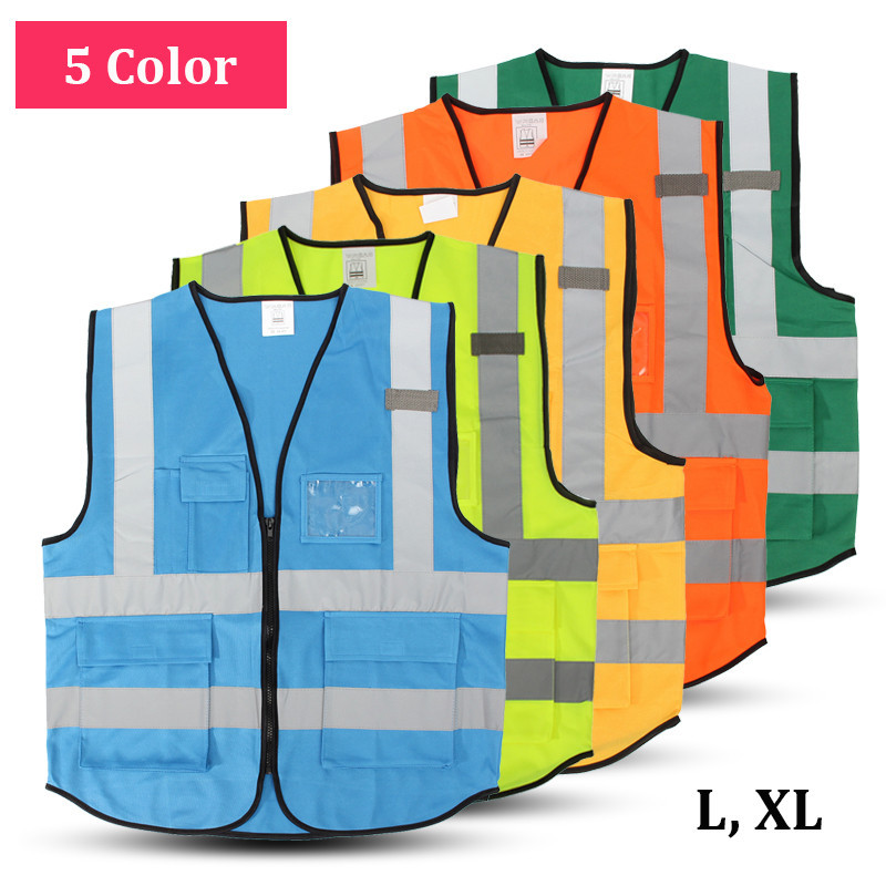 NEW High Visibility Clothing Clothing Safety Reflective Vest L,XL,5 Color Night Work Security Traffic Cycling