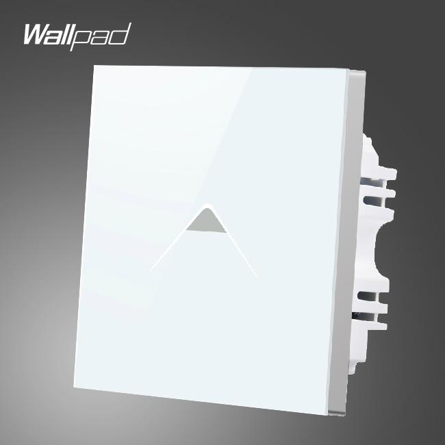 Wallpad Smart Home UK 1 Gang 1 Way White Glass LED Wall Power Switch Touch,Free Shipping 3 gang 1 way 118 72mm wallpad white glass touch wall switch panel led 110v 250v au us switching power supply free shipping