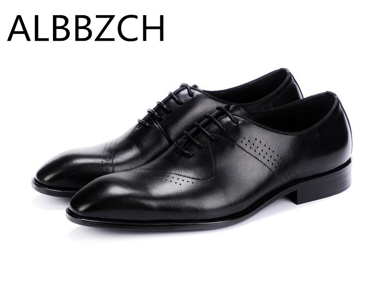New brogue genuine leather men shoes fashion carving design formal suit dress shoes mens black wedding