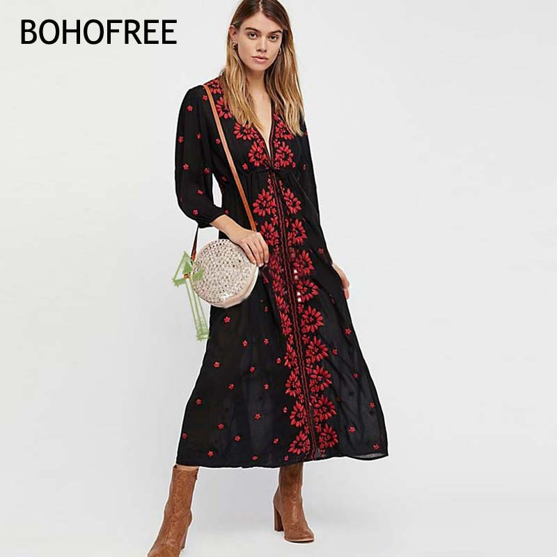 BOHOFREE Embroidered Fable Dress Mujer Empire Waist V Neckline Stretchy Waistline Bubble Sleeves Floral Embroidery Maxi Dress