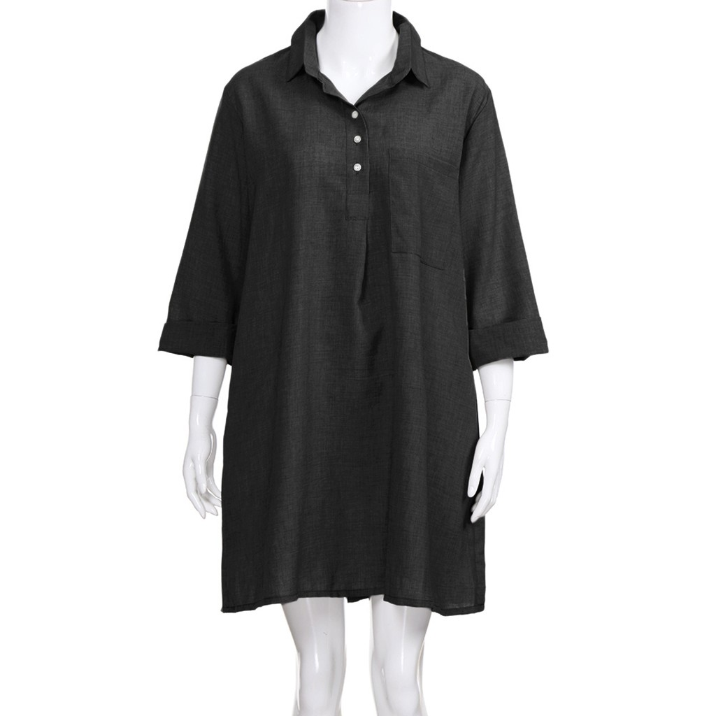 HTB1Ba26bifrK1RjSspbq6A4pFXau Large Plus Size !!Best Sale 2019 Women's Solid Boho Turn-down Collar Dress 3/4 Sleeve Casual Pocket Button Dress Vestido @6
