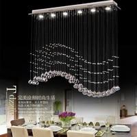 Living room bedroom modern minimalist restaurant Pendant chandelier, wave shaped crystal lamps, bar dining room led lights