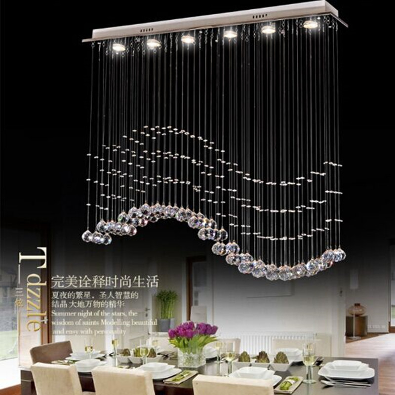 Living room bedroom modern minimalist restaurant Pendant chandelier, wave-shaped crystal lamps, bar dining room led lights single head small bar of korean modern minimalist iron pendant lamps dining room pendant light the living room kitchen