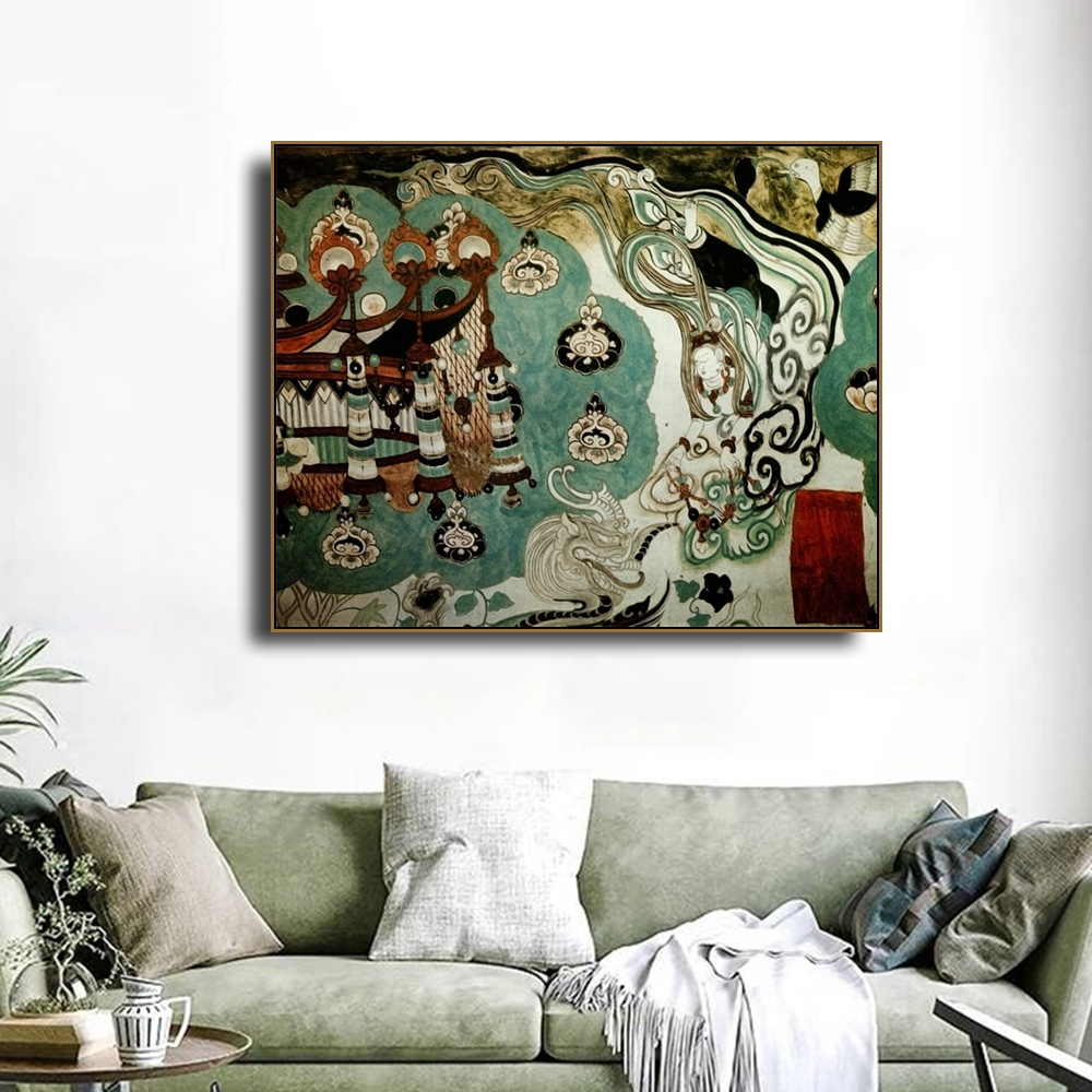 Chinese Style Ancient Fresco Canvas Painting Calligraphy Posters Prints For Living Room Bedroom Wall Pictures Home Art Decor