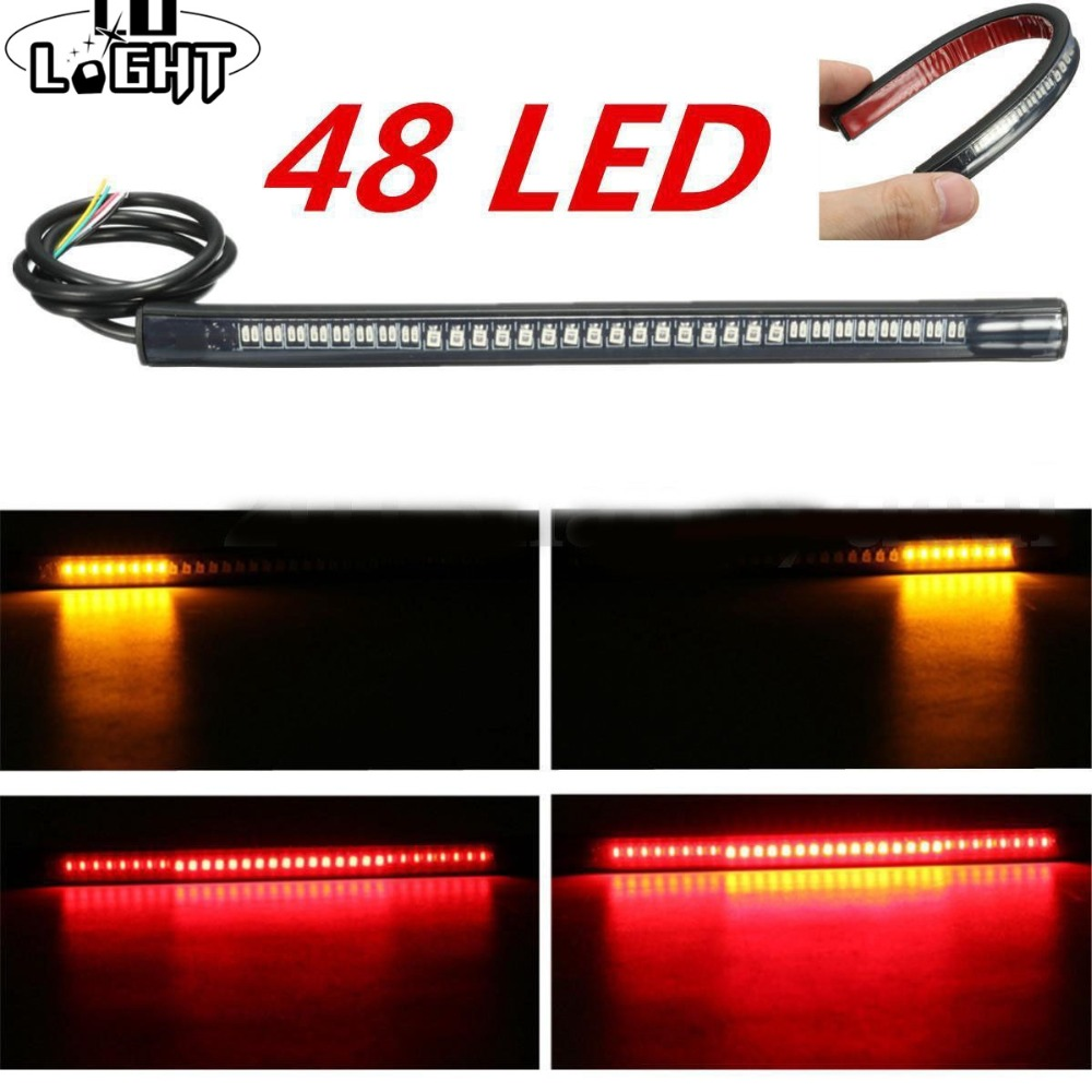 CO LIGHT Flexible Led Strip 48 Leds Stop Light Motorcycle Auto Turn Signal Brake Tail Strip Tail Light For Lada Car Moto