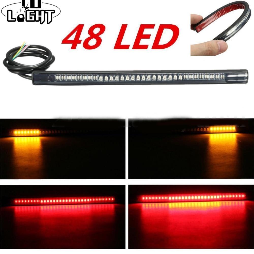 CO LIGHT Flexible Led Strip 48 Leds Stop Light Motorcycle Auto Turn Signal Brake Tail Strip Tail Light For Lada Car Moto