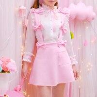 Принцесса сладкий Лолита костюм Японская девушка сердце сладкая принцесса ветер листьев ленты рубашка лук подтяжки юбка костюм юбка KMY209