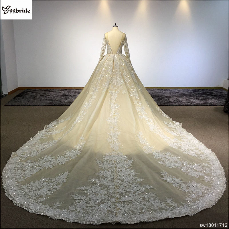 Surmount Design Elegant Lace Wedding Dresses Scoop Neck Long Sleeves ...