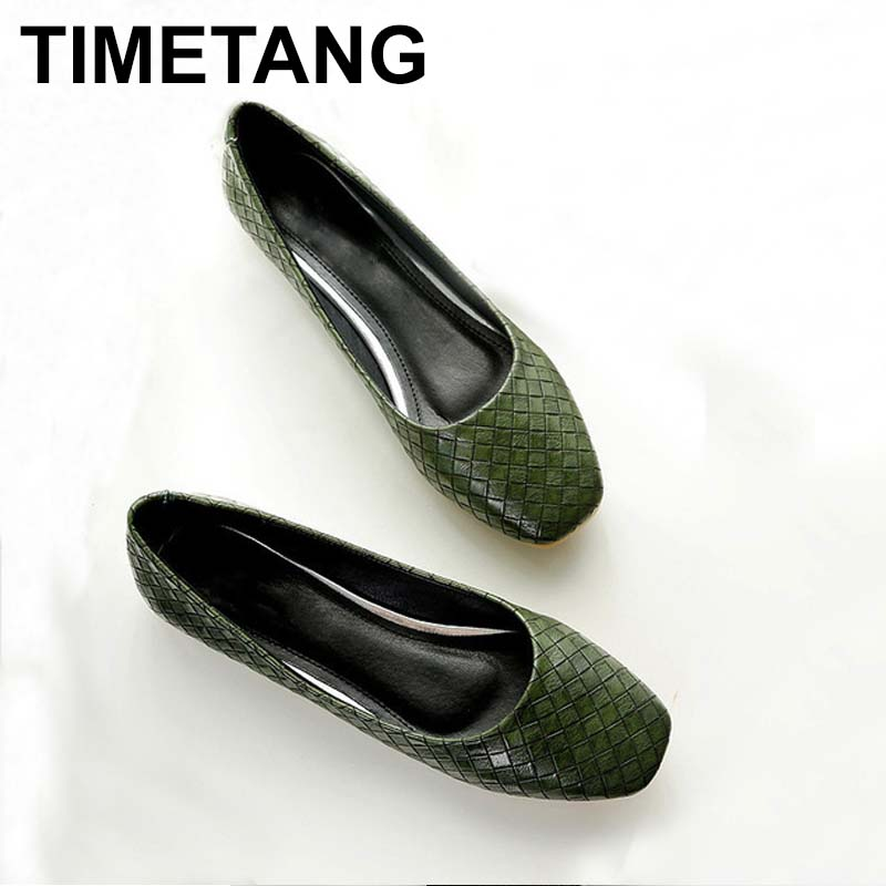 TIMETANG Spring Autumn Women Fashion Anti-slip Ballet Flats Soft Shoes Square Head Flat Heal Shoe Casual Soft Wear C106 timetang 2018 buckle knitted women single shoes square toe ballet flats soft bottom fashion work shoes woman flat shoes c084