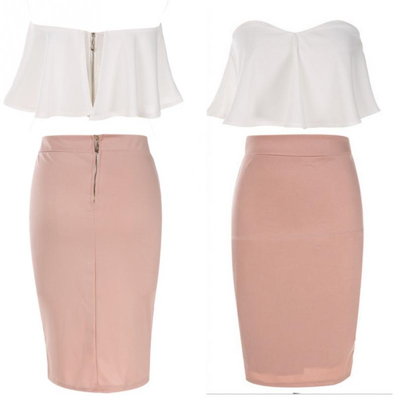 1c7247403e 2 Pcs Women Ladies Sexy Strapless Ruffle Crop Top Pencil Skirt Bandage  Bodycon Party Dresses Set Pink and White-in Women's Sets from Women's  Clothing on ...