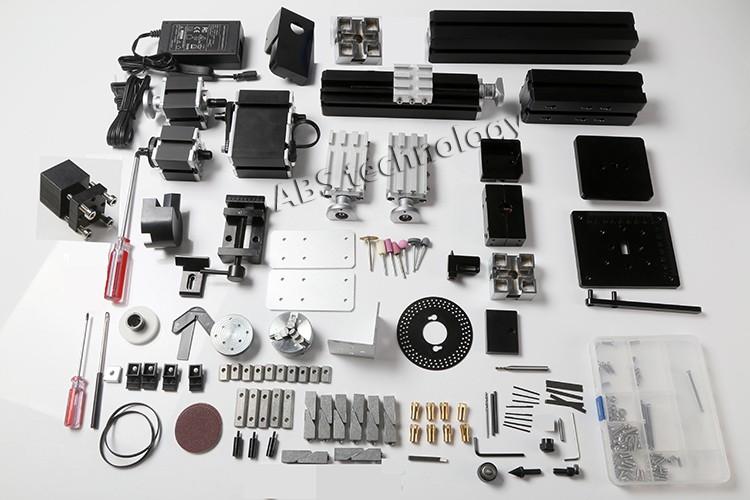 12000rmin 60W,All-Metal 8 in 1,Milling ,Drilling ,Wood Turning,Jag,Saw,Sanding Mini Lathe Machine,for DIY work tool (1)